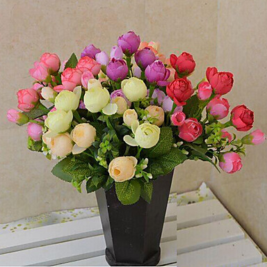 Buy Artificial Flowers Home Decoration Bright Color Rose Silk Flower Wedding Bouquet Decorations