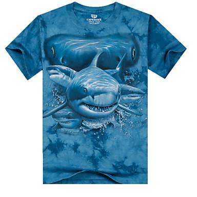 3d printing round neck short sleeve shark t shirt cotton for Shark tank t shirt printing