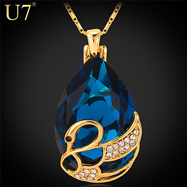 Buy U7® Women's Austrian Fancy Stone Pendant 18K Gold Plated Jewelry Rhinestone Swan Red Blue Gemstone Sapphire Necklace