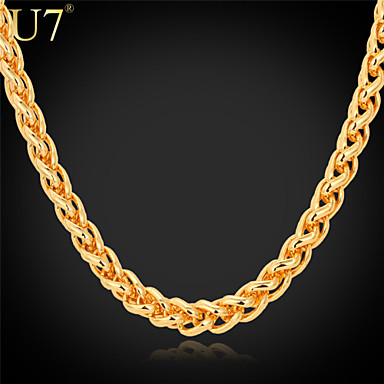 Buy U7® Men's Gold Chain 22'' 18K Stamp Plated Hip Hop Men Jewelry Wheat Spiga Link Necklace