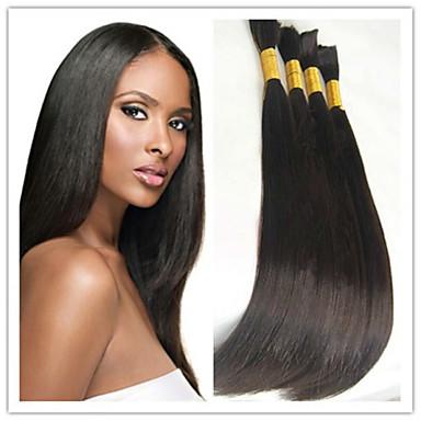Buy INDIAN VIRGIN Human Hair Bulk 14-32 inch Straight Braiding Extensions 100G/Pc #1B