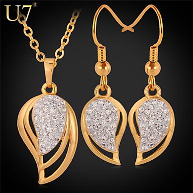 Buy U7® Women's Austrian Rhinestones Earrings Girl's Fashion Jewelry Gift 18K Gold Plated Teardrop Shape Necklace Set