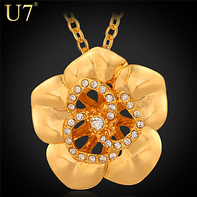 Buy U7® Women's Austrian Rhinestones Necklace 18K Real Gold Plated/Platinum Plated Flower Jewelry Hollow Pendant