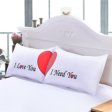 Cute Pillow Sets : Set of 2 LOVE Cute Pillow Cases Heart Together Super Soft Pillow Cover for Wedding Valentine s ...