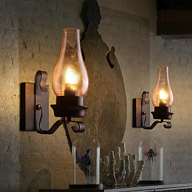 Retro Rustic Nordic Glass Wall Lamp Bedroom Bedside Wall Sconce Vintage Industrial Wall Light ...