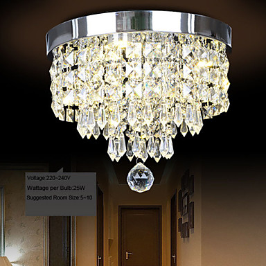 25W Modern Contemporary Crystal LED Metal Flush Mount
