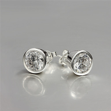 Womens Cute Party Work Casual Silver Plated Brass Stud Earrings