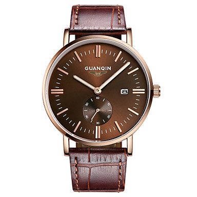 Buy GUANQIN® Men Japanese Quartz Watch 200m Waterproof Big Dial Calendar Sapphire Crystal Steel Leather Slim Wrist Cool Unique