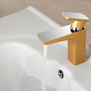 Contemporary half chrome half champagne gold brass hot and cold single handle bathroom sink for Gold and chrome bathroom faucets