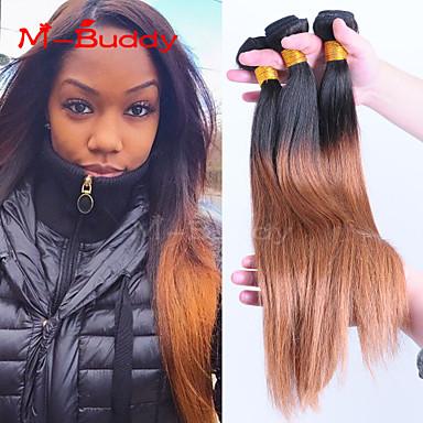 Buy 8 inch-30 inch Brazilian Virgin Hair Color 1B30 Straight Ombre Human hair Weaves