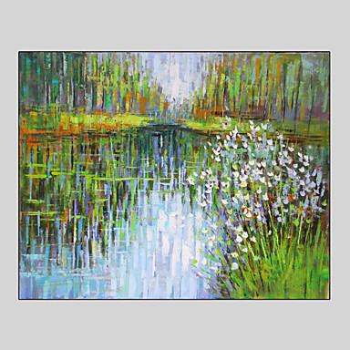 Handgeschilderde landschap fantasie abstracte landschappenstijl e n paneel canvas hang - Hang een doek ...