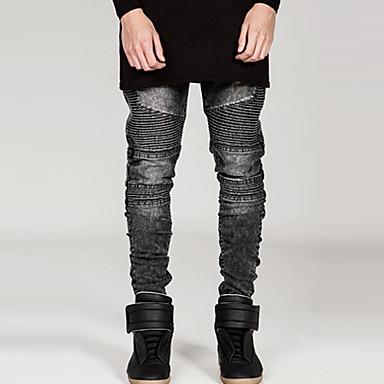 Mens fashion Fold stripe jeans Runway Distressed slim elastic jeans jeans hiphop pantsBANT11