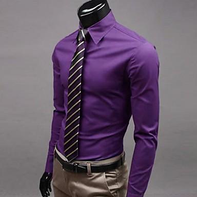 Men's Plus Size Solid Purple/Wine/Pink Shirt,Work Slimming Shirt Collar Long Sleeve