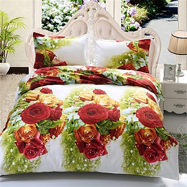 Buy 3D Bedding Sets Flower Printed Duvet Cover Bed Sheet Queen Size Style