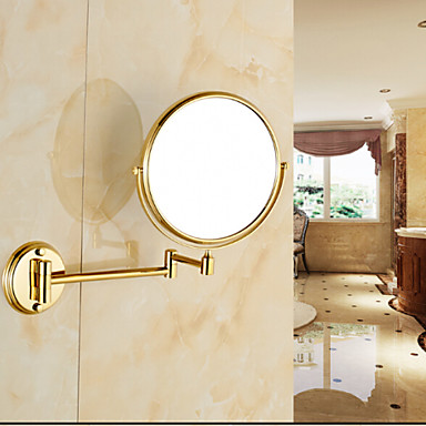 Gold Plated Wall Mounted Brass Material Mirror Bathroom Gadget 4751419 2017
