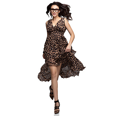 Women's Sexy Leopard Print Deep-V Neck Sleeveless Asymmetrical Maxi Dress