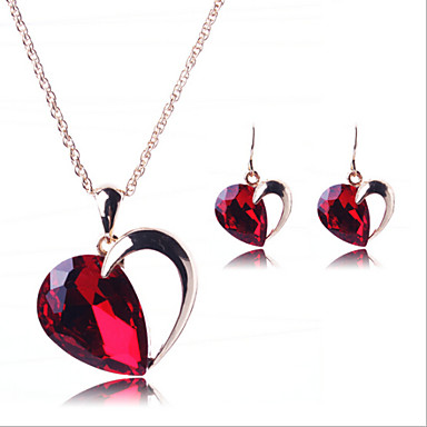 Buy Lucky Doll Women's Matching Luxury Crystal 18K Gold Plated Heart Necklace & Earrings Jewelry Sets