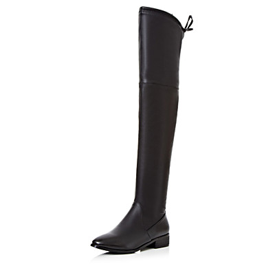s boots low heel pointed toe thigh high boots office