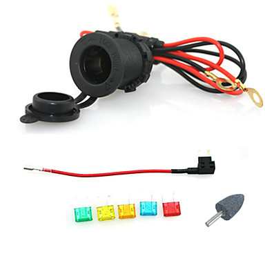 Buy 12V 24V Waterproof Cigarette Power Socket Car Motorcycle 60cm cords Add-a-circuit blade Fuse holder small fuse