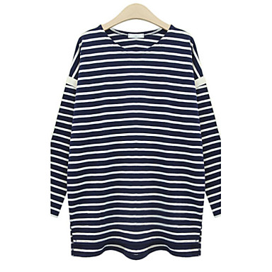 Women 39 s plus size striped white black t shirt round for Black and white striped long sleeve shirt women