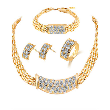 Buy Lucky Doll Women's Luxury Gem 18K Gold Plated Necklace & Earrings Bracelet Ring Jewelry Sets