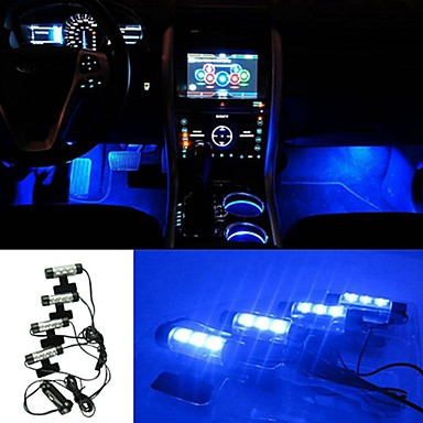 Buy ZIQIAO 3LED Car Charge 12V 4W Glow Interior Decorative 4in1 Atmosphere Blue Light Lamp Inside Foot