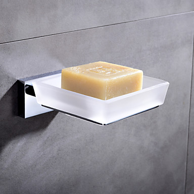 Hpb contemporary chrome finish brass holder and glass dish wall mounted soap dishes 4804203 for Wall mounted soap dishes for bathrooms