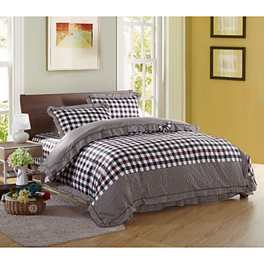 contracted fashion high end full cotton reactive printing stripe contemporary bedding set 4pc. Black Bedroom Furniture Sets. Home Design Ideas