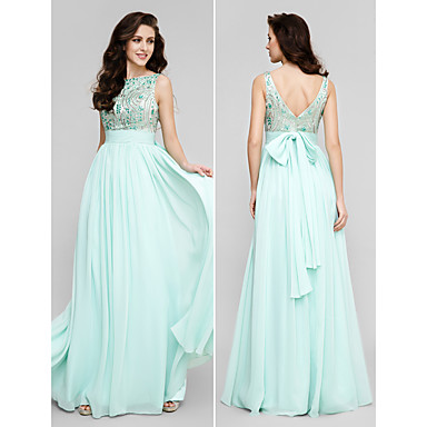 TS Couture® Prom / Formal Evening / Military Ball Dress - Vintage Inspired Plus Size / Petite A-line Scoop Floor-length Chiffon with Beading / Bow(s)