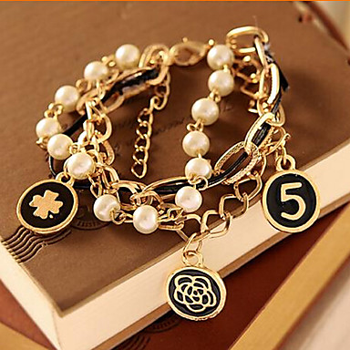 Buy MISSING U Alloy / Imitation Pearl Bracelet Cuff Bracelets Strand Daily Casual 1set