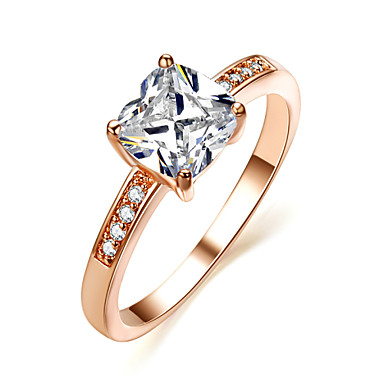 Buy HKTC Classic 18K Rose Gold Plated 7mm Square CZ Stone Engagement Ring