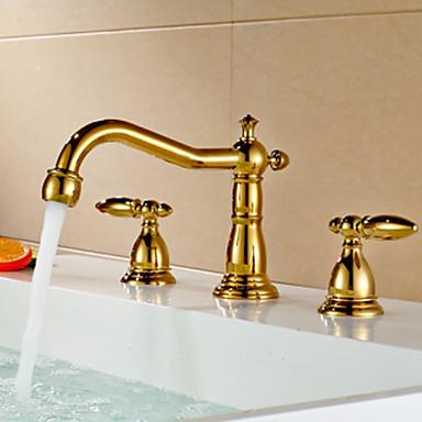 Bathroom Gold Finish Dual Handle Three Hole Basin Faucet 4040042 2016