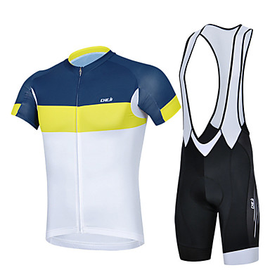 Buy CHEJI® Cycling Jersey Bib Shorts Men's Short Sleeve Breathable / Quick Dry Ultraviolet Resistant 3D Pad Limits Bacteria Bike
