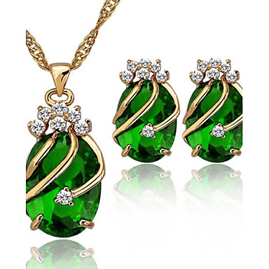 Buy Crystal 18K Gold Plated Party Jewelry Sets Women Necklace Earrings
