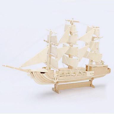 Buy Jigsaw Puzzles 3D / Wooden Building Blocks DIY Toys Ship Wood Beige Model & Toy