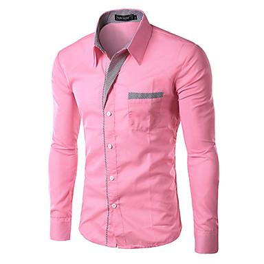 10 Colors High Quality Men's Slim Fit Pin Stripe Formal Business Long Sleeve Dress shirt ,Work / Formal Solid Shirt