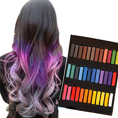 36 Color Temporary Chalk Crayons for Hair Non-toxic Hair Dye Pastels Stick DIY Styling Tools