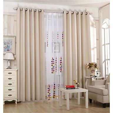 Dos paneles campestre europeo s lido beige marfil sala de estar lino blackout cortinas - Cortinas lino beige ...