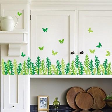 Grass Butterfly Leaves Skirting Line Vinyl Removable Sticker Kids Room Home Decor Art Diy Wall