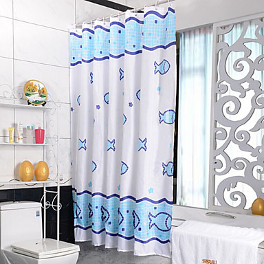 seabed fish waterproof polyester fabric shower curtain. Black Bedroom Furniture Sets. Home Design Ideas