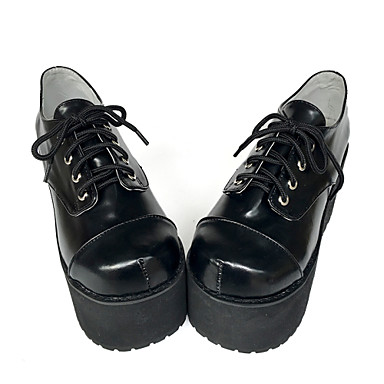 Buy Punk Lolita Leather 8 Wedge Black Shoes