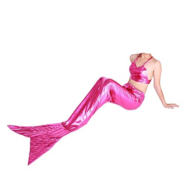 Buy Shiny Zentai Suits Mermaid Tail Fairytale Cosplay Costumes Pink Solid Leotard/Onesie Spandex Metallic UnisexHalloween