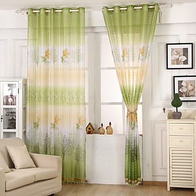 one panel country living room polyester sheer curtains