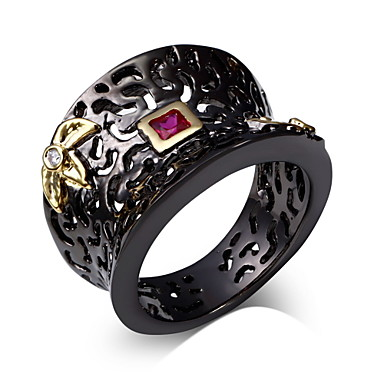 Buy Ring Women Unique Black & Gold Plated Made AAA Cubic Zirconia