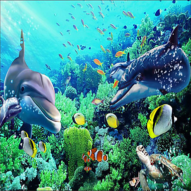 Buy (9'8 inchx 8'2 inchft)Photo Wallpaper-3d Silk Cloth Underwater World Dolphin Backdrop Large Wall Mural Paper
