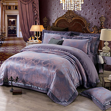 Soft queen king size bedding set luxury silk cotton blend for Luxury cotton comforter sets