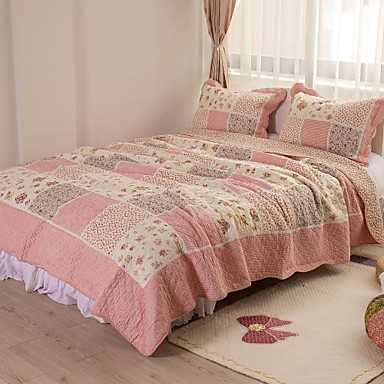 mode 100 coton 3 pi ces matelass ensemble couvre lit. Black Bedroom Furniture Sets. Home Design Ideas