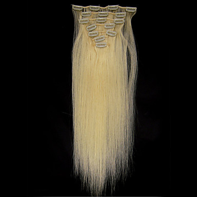 Buy 18'' Clips Human Hair Extensions Blond 70g Women's Beauty Hairsalon Fashion