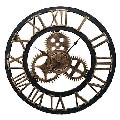 Европейский стиль винтаж железо немой настенные часы (бронзовый цвет)