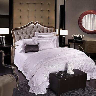 White Luxury Silk Cotton Blend Duvet Cover Sets Queen King ...